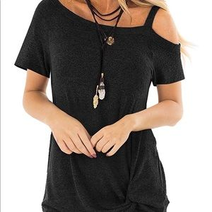 Cold Shoulder T-Shirt Short Sleeve Knot Twist